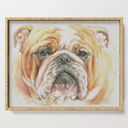 English Bulldog portrait Serving Tray