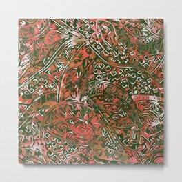 Green Hawaiian Ancient Pattern Red Metal Print