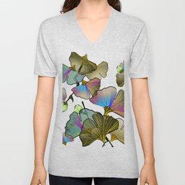minimal line art color gingko leaves blossoms Unisex V-Neck