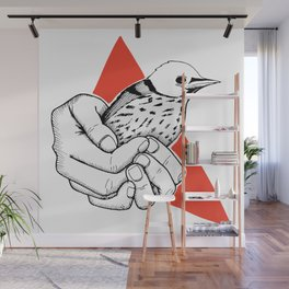 I will protect you hands holding a bird Wall Mural