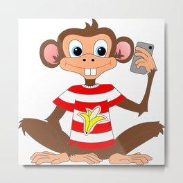Camera Fone - Monkey Metal Print