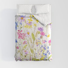 colorful meadow painting Comforters