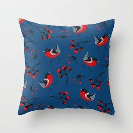Bird Seamless Pattern. Bullfinch birds Throw Pillow