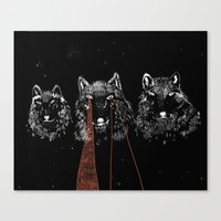wolves Canvas Prints featuring wolves by BELZEDU