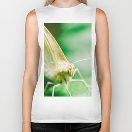 White Butterfly, Macro Photography, Wall Art Print, Nature Details, Close-Up Photography Biker Tank