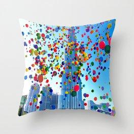 Burj Khalifah, Dubai, United Arab Emirates and Balloons a by Ahmet Asar Throw Pillow