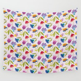 Flowers and Butterflies Wall Tapestry
