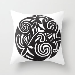 Inspired by a design in the Book of Kells Black and White Throw Pillow