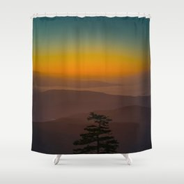 Pretty Pastel Yellow Red Green Sunset With Lone Pine Tree Silhouette Shower Curtain