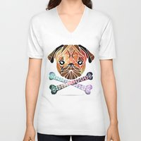 pug V-neck T-shirts featuring pug by Manoou