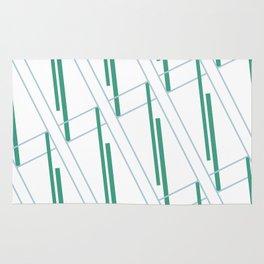 Geometric work - blue and green lines Rug