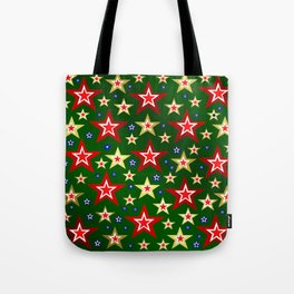 grenn,blue,gold,red stars xmas pattern Tote Bag