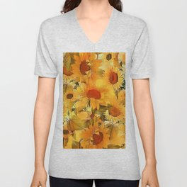 Sunshine Floral Abstract Unisex V-Neck