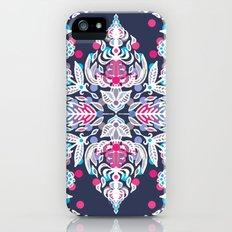 Pastel Folk Art Pattern in soft navy, pink, mauve & white iPhone (5, 5s) Slim Case