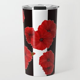 Red poppies on a black and white striped background. Travel Mug
