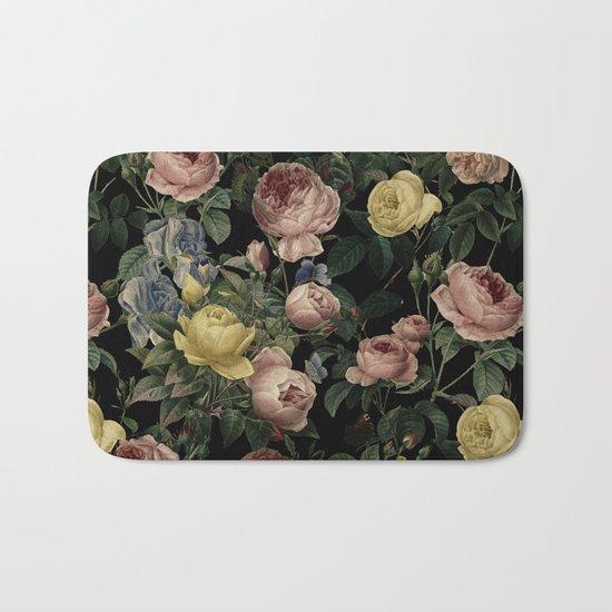Vintage Roses and Iris Pattern - Dark Dreams on #Society6 Bath Mat