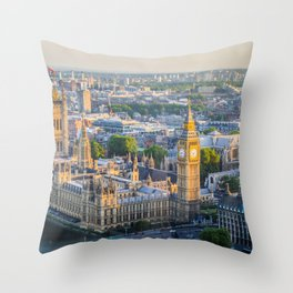 View of Big Ben and Houses of Parliament from London Eye | Europe UK City Urban Landscape Photography Throw Pillow