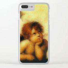 """Raffaello Sanzio da Urbino """"Sistine Madonna"""", 1513-1514 - angels (3) Clear iPhone Case"""