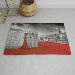 Tower of London Red Poppies Rug