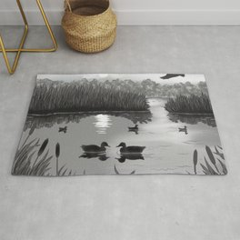 The Pond Black and White Rug