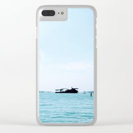 Boats and a Blue Sky on the Singapore Strait Clear iPhone Case
