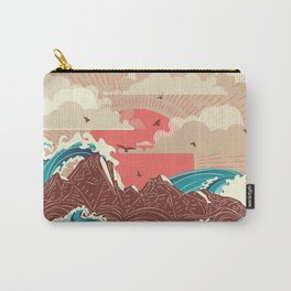 Stylized big waves of ocean or sea at sunset landscape Carry-All Pouch