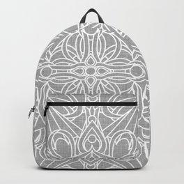 White Mandala on Grey Linen Backpack