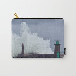 Stormy wave over old lighthouse. Carry-All Pouch