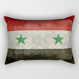Syrian national flag, vintage Rectangular Pillow