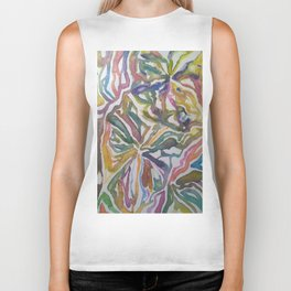 Abstract Flowers Watercolor Painting Biker Tank