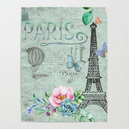 Paris - my love - France Eiffeltower Nostalgy - French Vintage Poster