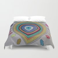 evil eye Duvet Covers featuring Evil Eye - palm by Layal Chemaitelly