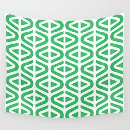 Mid Century Modern Split Triangle Pattern Green Wall Tapestry