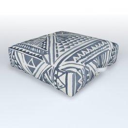 Simply Tribal Tile in Indigo Blue on Lunar Gray Outdoor Floor Cushion