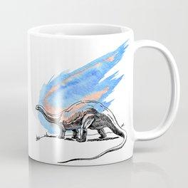 Brontosaurus Dinosaur on Blue Watercolor Asteroid Coffee Mug