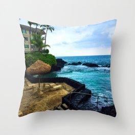 Hawaiian Beach Scene Lava Rocks on the Big Island Throw Pillow