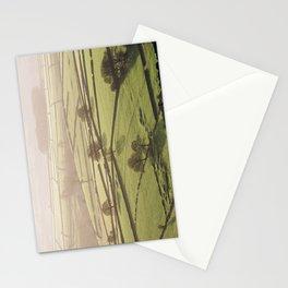 Hazy light at sunset over a valley of fields. Derbyshire, UK. Stationery Cards