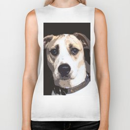 A Brown And White Dog With Collar Biker Tank