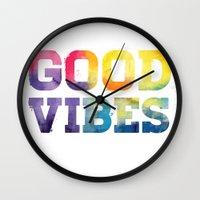 good vibes Wall Clocks featuring Good Vibes by dan elijah g. fajardo