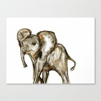 baby elephant Canvas Prints featuring Baby Elephant by James Peart