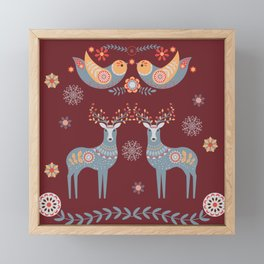 Nordic Winter Red Framed Mini Art Print