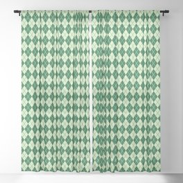 Green Argyle Pattern Sheer Curtain