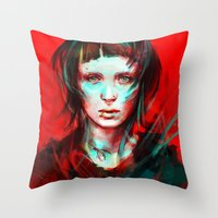 pop Throw Pillows featuring Wasp by Alice X. Zhang