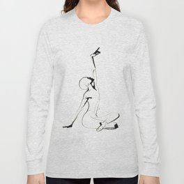 India Ink Dance Drawing Long Sleeve T-shirt
