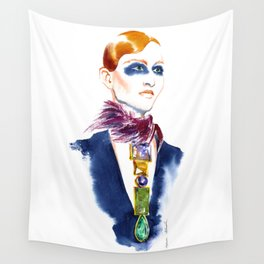 Fashion #13. Girl with a necklace around her neck Wall Tapestry