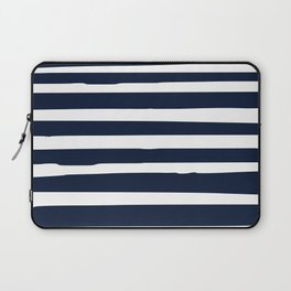 Stripes Nautical Modern Navy and White Laptop Sleeve