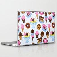 dessert Laptop & iPad Skins featuring Dessert Pattern by Julia Emiliani