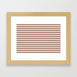 Sherwin Williams Cavern Clay Horizontal Line Pattern on White 1 Framed Art Print