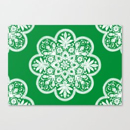 Floral Doily Pattern | Lace Crochet Doilies | Needle Crafts | Green and White | Canvas Print