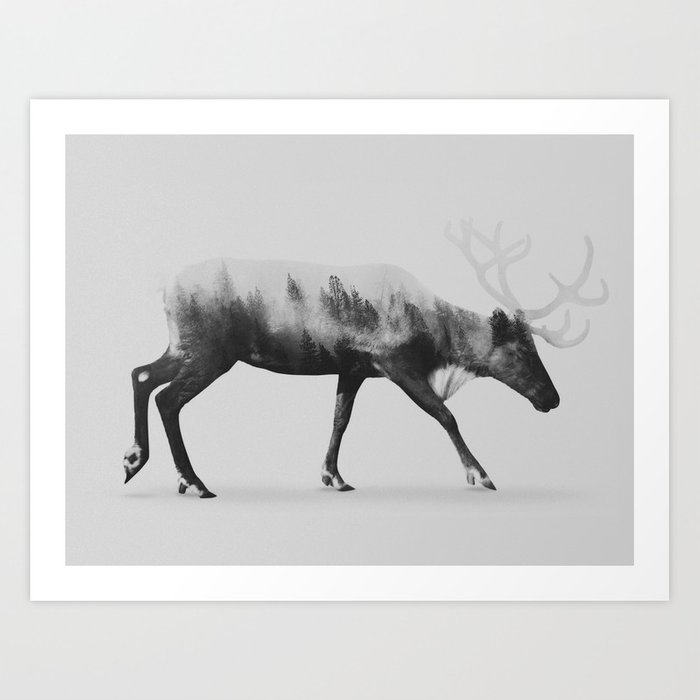 Reindeer black white version art print